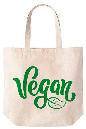 Vegan - Sacola de Algodão 30x35x10cm