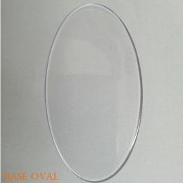 Base oval 11 x 5 cm cor transparente Caixa com 100 unidades