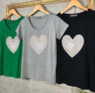 T-Shirt Coração Lurex