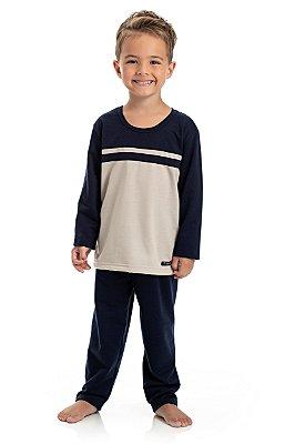 Pijama Longo Infantil Masculino Camisa e Calça Peluciado