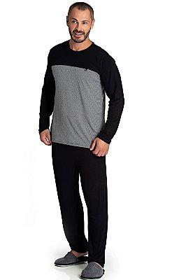 Pijama Longo Adulto Masculino Calça Lisa Blusa Tom Grafite Mangas Pretas