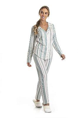 Pijama Longo Adulto Feminino Blusa Manga Longa Gola Alfaiataria Calça Listrados