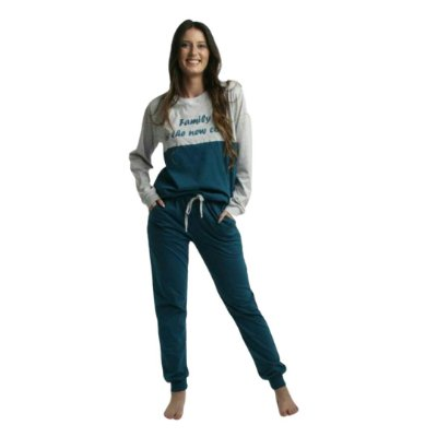 Pijama Longo Adulto Feminino Blusa Cinza/Verde Calça Lisa
