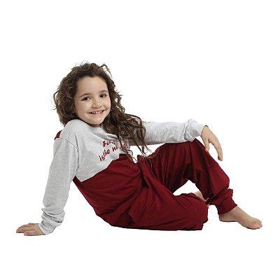 Pijama Longo Infantil Unissex Blusa Cinza/Vermelha Calça Lisa