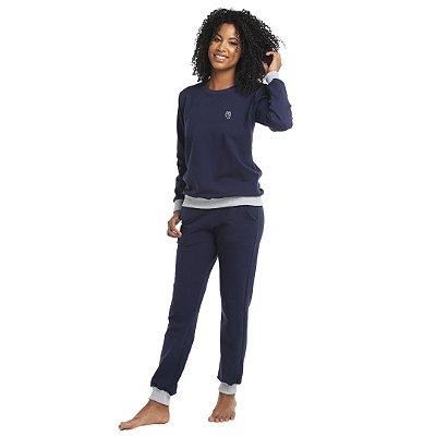 Pijama Longo Adulto Feminino Moletinho Sem Felpa Calça Laço Ajustável