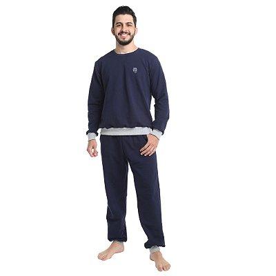 Pijama Longo Adulto Masculino Moletinho Sem Felpa Calça Laço Ajustável