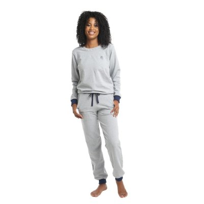 Pijama Longo Adulto Feminino Moletinho Sem Felpa Calça Laço Ajustável Branco