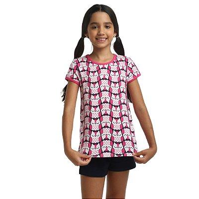 Pijama Curto Infantil Feminino Coruja