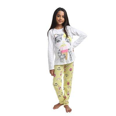 Pijama Longo Infantil Feminino Gatinho com Sorvete