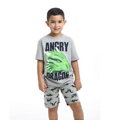 Pijama Curto Infantil Masculino Angry Dragon