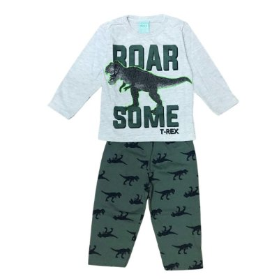 Pijama Longo Infantil Masculino Roar Some T-Rex