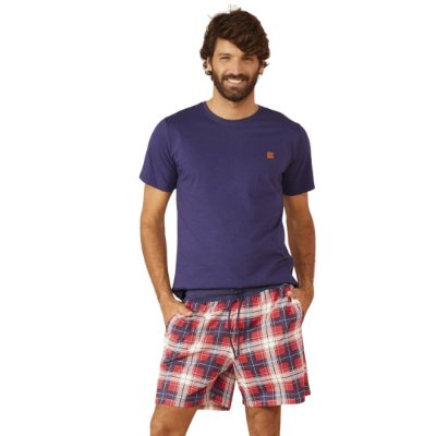 Pijama Curto Adulto Masculino Blusa Azul e Bermuda Xadrez