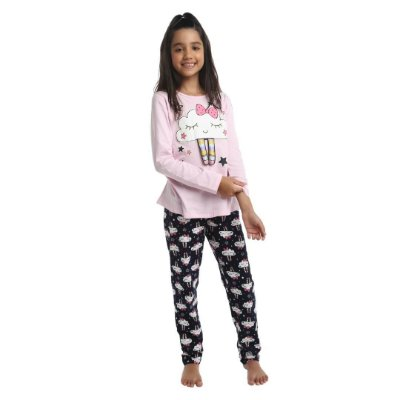Pijama Longo Infantil Feminino Nuvem Com Sono Que Brilha no Escuro