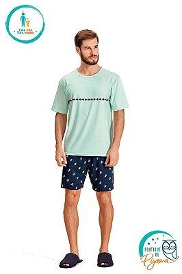 Pijama Curto Adulto Masculino Tartaruga