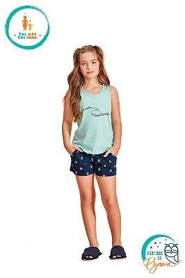 Pijama Curto Infantil Feminino Tartaruga