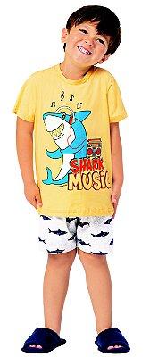 Pijama Curto Infantil Masculino Shark Music