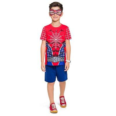 Pijama Curto Infantil Masculino Homem Aranha