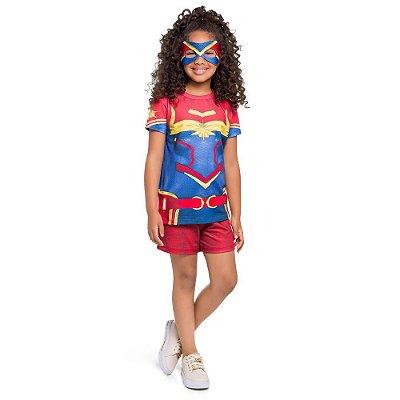 Pijama Curto Infantil Feminino Capitã Marvel