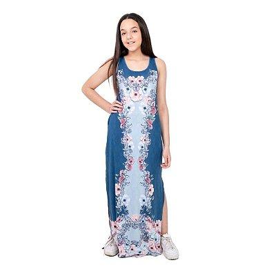 Camisola Longa Adulto Azul com Fendas