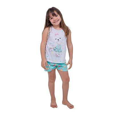 Pijama Curto Infantil Feminino Branco/ verde Brilha no Escuro