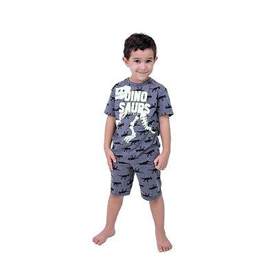 Pijama Curto Infantil Masculino Dinossauro Brilha no Escuro Cinza/Branco