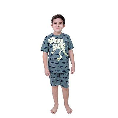 Pijama Curto Infantil Masculino Dinossauro Brilha no Escuro Verde/Branco