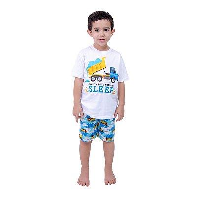 Pijama Curto Infantil Masculino Caminhão Branco/Azul
