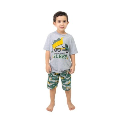 Pijama Curto Infantil Masculino Caminhão Cinza/Verde