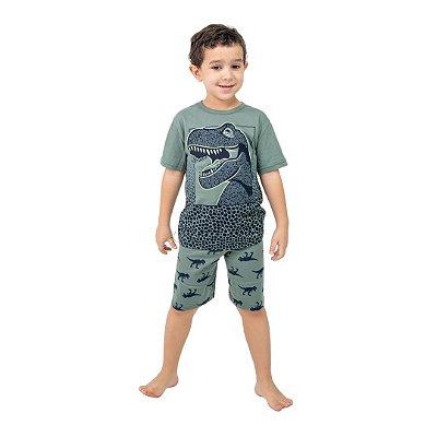 Pijama Curto Infantil Masculino Dinossauro Brilha no Escuro Verde/Cinza