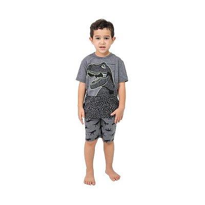 Pijama Curto Infantil Masculino Dinossauro Brilha no Escuro Cinza