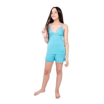 Pijama Curto Adulto Feminino Blusa com Alcinha Regulavel Azul