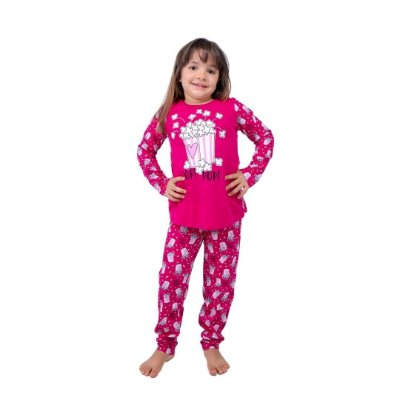 Pijama Longo Infantil Feminino Pop pop Rosa