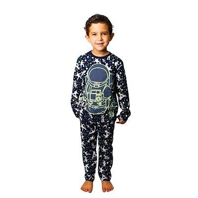 Pijama Longo Infantil Masculino Astronauta Que Brilha no Escuro