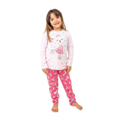 Pijama Longo Infantil Feminino Cachorro Branco/Rosa