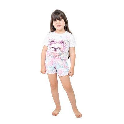 Pijama Curto Infantil Feminino Bolha de Sabão