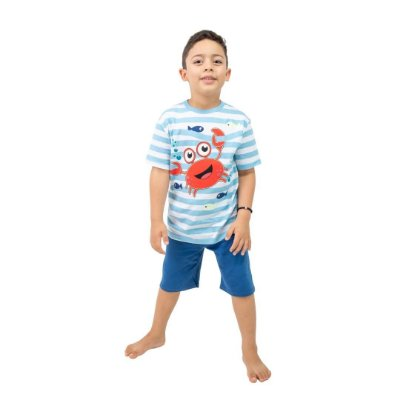 Pijama Curto Infantil Masculino Caranguejo Azul