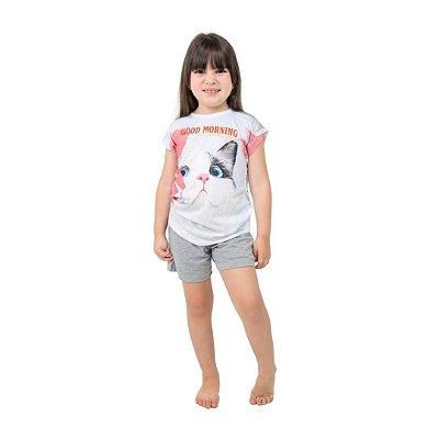 Pijama Curto Infantil Feminino Gato Good Morning
