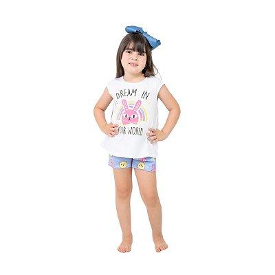 Pijama Curto Infantil Feminino Dream In Your World Branco/Azul