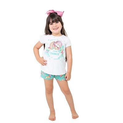Pijama Curto Infantil Feminino Always Dream Good Things Branco/Azul