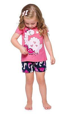 Pijama Curto Infantil Feminino Dinossauro Brilha no Escuro Rosa/Azul
