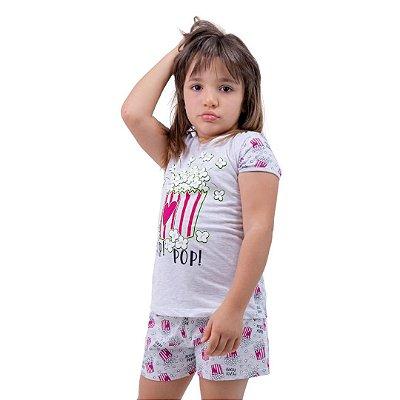 Pijama Curto Infantil Feminino Pop Pop Branco