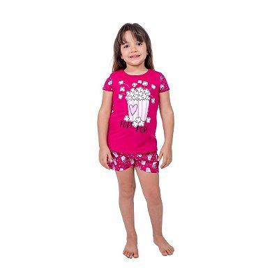 Pijama Curto Infantil Feminino Pop Pop Rosa