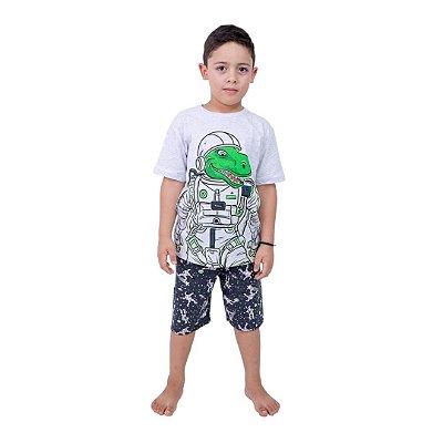 Pijama Curto Infantil Masculino Dinossauro Robo Brilha no Escuro Verde