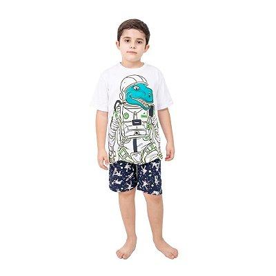 Pijama Curto Infantil Masculino Dinossauro Robo Brilha no Escuro Azul