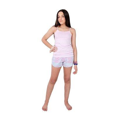 Pijama Curto Adulto Feminino Blusa com Alcinha Regulável