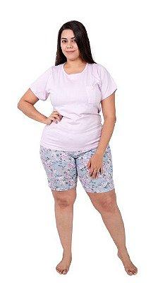 Pijama Curto Adulto Feminino Camisa Com Bolso/Short Florido