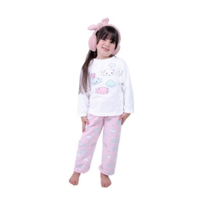 Pijama Longo Infantil Feminino Soft Cat