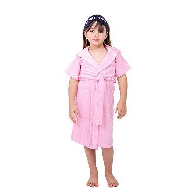 Robe Infantil Feminino Atoalhado Rosa com Capuz