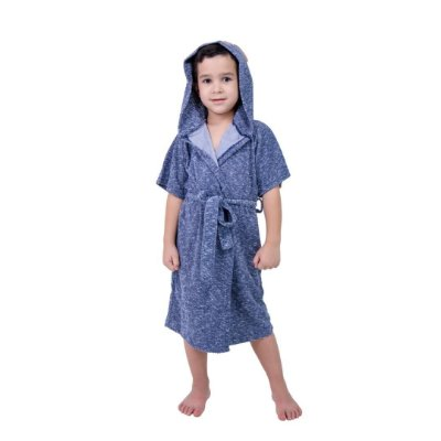 Robe Infantil Masculino Azul com Aplique de Urso