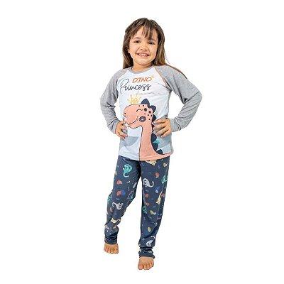 Pijama Longo Infantil Feminino Dino Princess